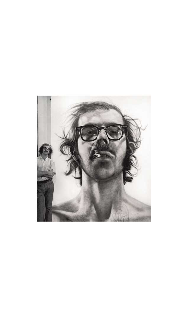 Chuck Close with 'Big Self-Portrait' in his studio, 1968
