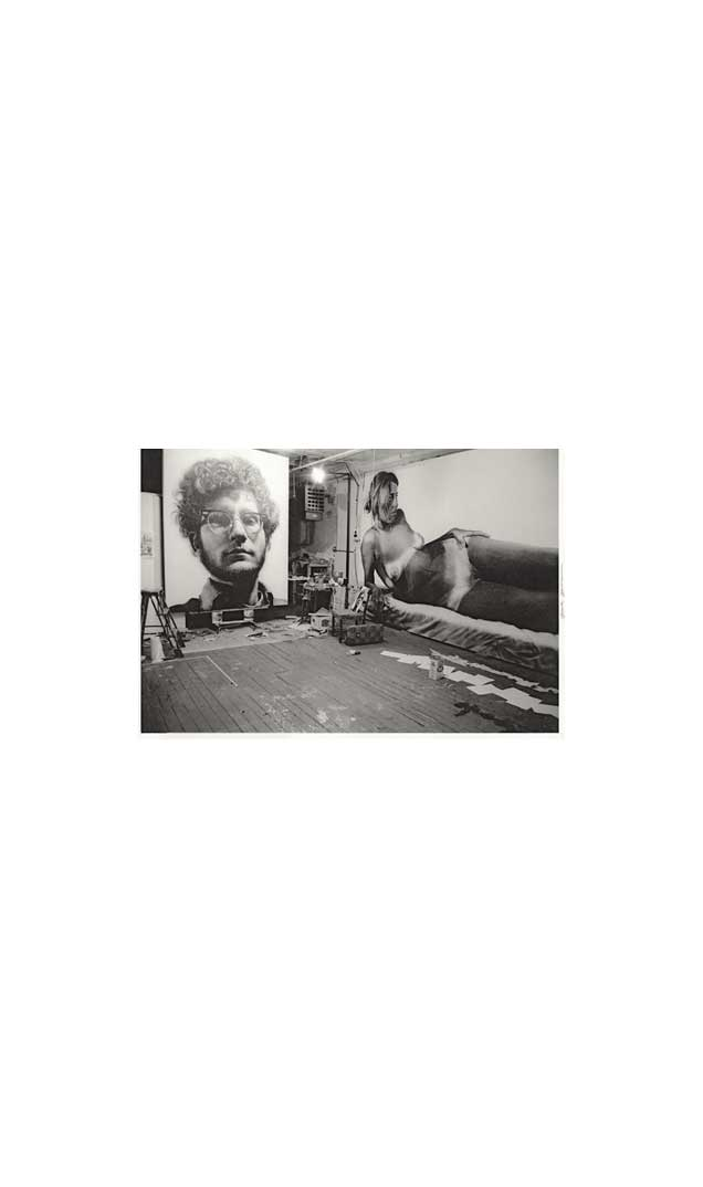 Chuck Close's studio with 'Frank' and 'Big Nude', 1968