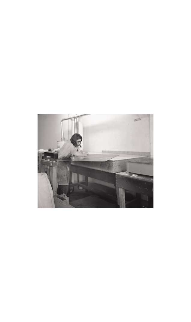 Kathan Brown working on 'Keith/Mezzotint' at Crown Point Press, 1972