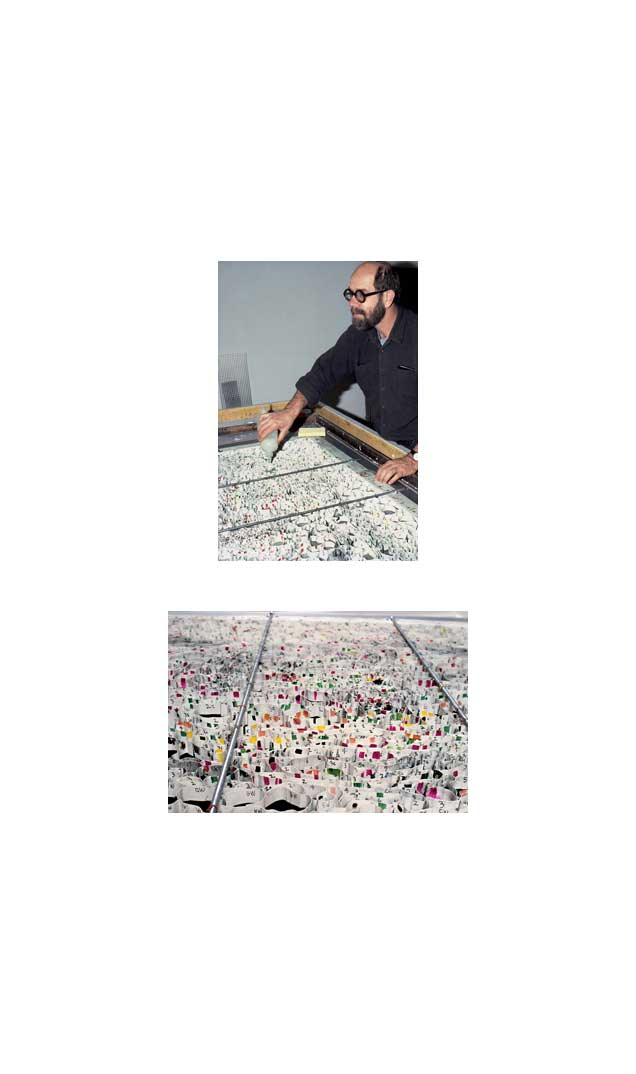 Chuck Close injecting paper pulp into grid, 1984 (top); Detail of grid showing grayscale numbers, 1984 (bottom)
