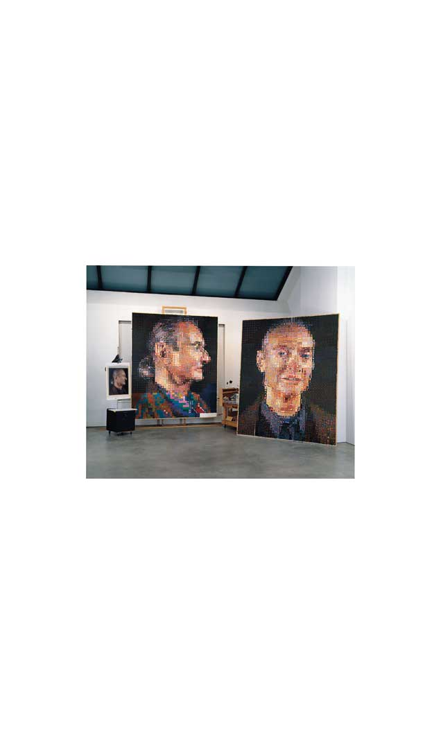 Chuck Close's studio with 'Roy II' and 'Roy I', 1968