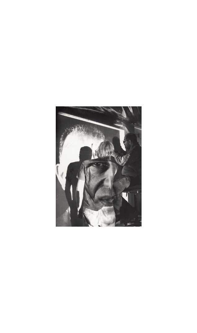 Chuck Close working on 'Alex/Reduction Print', 1991