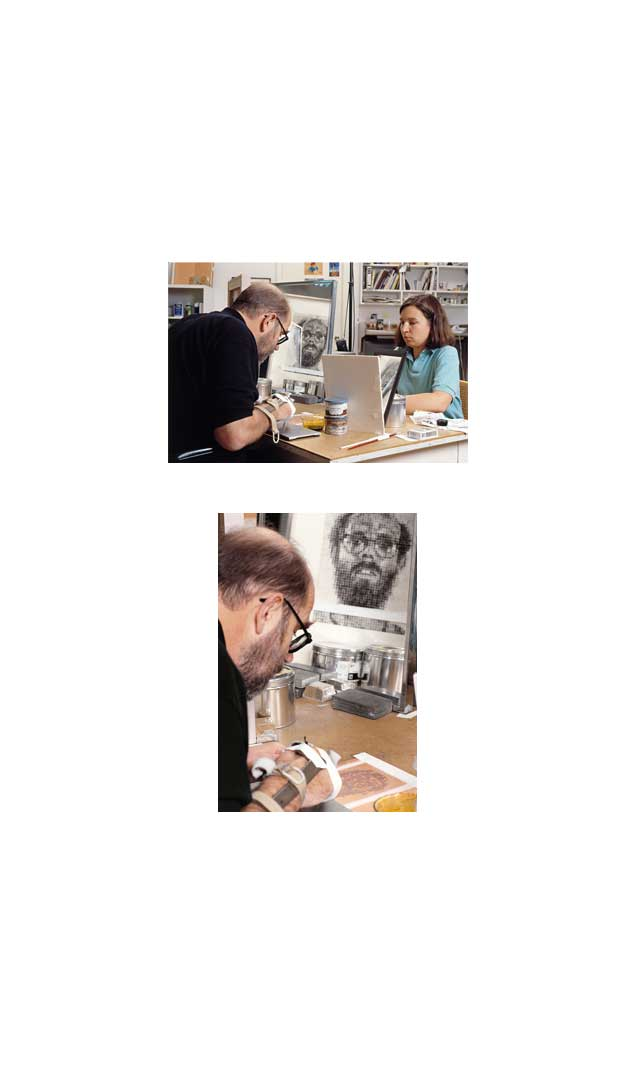 Chuck Close working on 'Self-Portrait', 1992