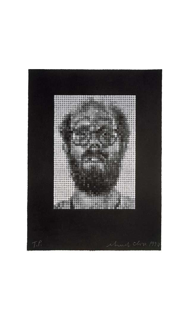 Self-Portrait/Spitbite/White on Black, 1997