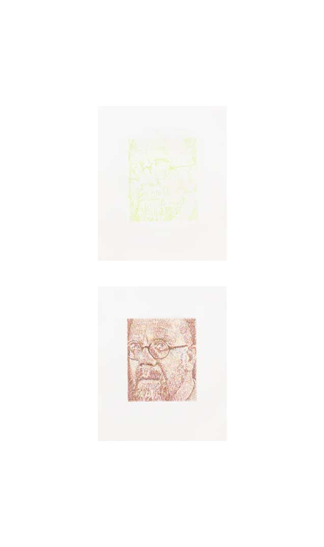 Self-Portrait/Scribble/Etching Portfolio State 4 (top); Progressive 4 (bottom), 2000