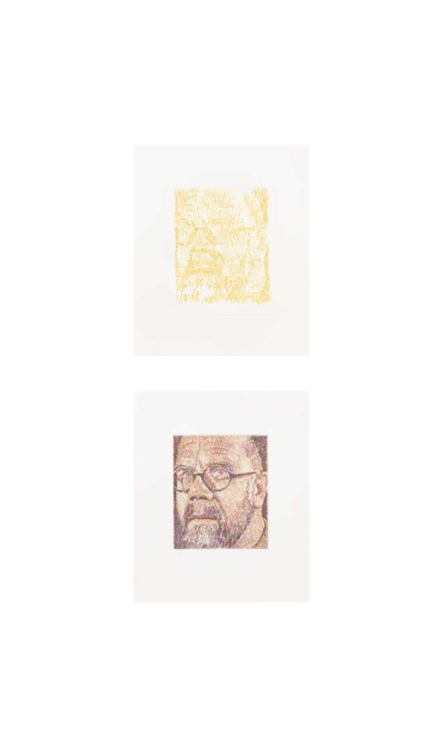 Self-Portrait/Scribble/Etching Portfolio State 8 (top); Progressive 8 (bottom), 2000