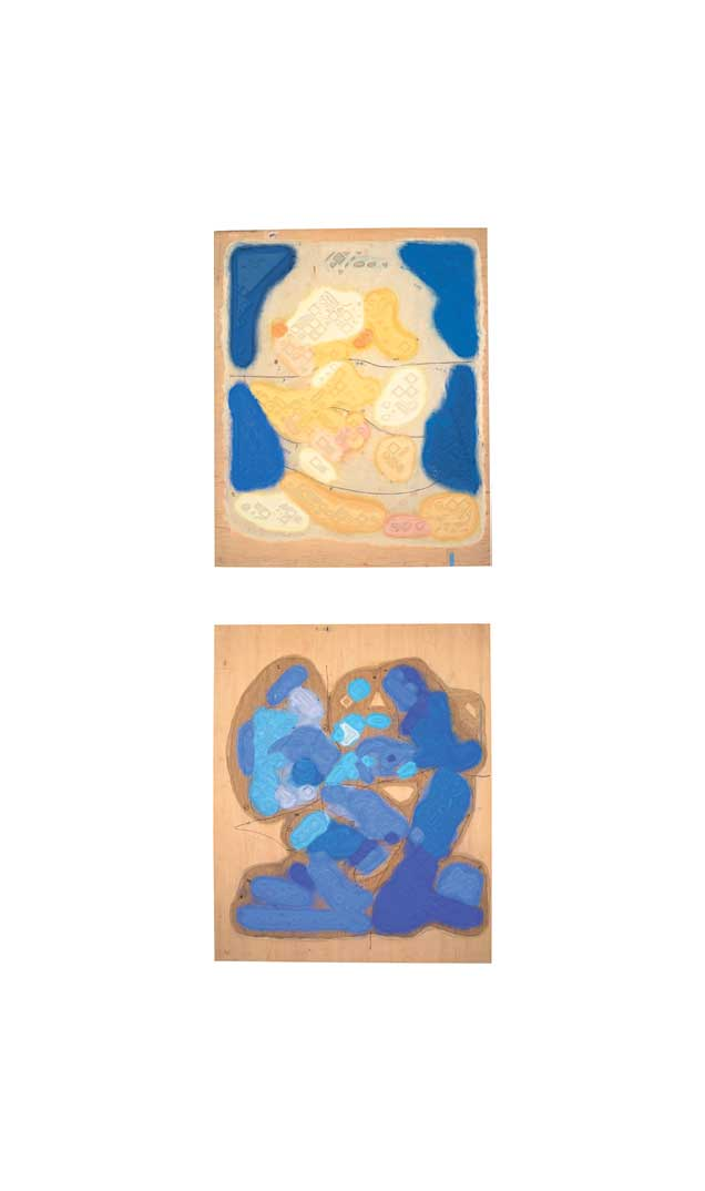 Emma woodcut block 1 (top) & 15 (bottom), 2002