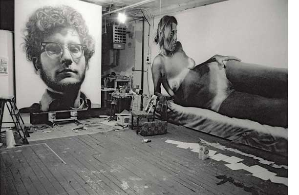 Chuck Close's studio with 'Frank' and 'Big Nude', 1968 (Photo by Frank James)