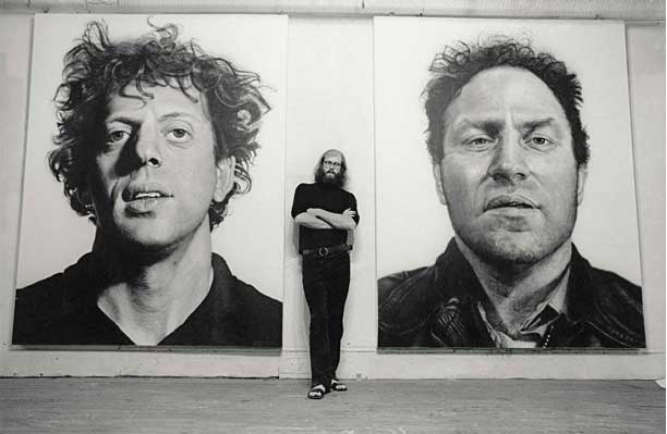 Chuck Close with 'Phil' and 'Richard', 1969 (Photo by Frank James)