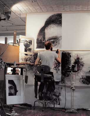 Chuck Close at work on 'Robert/104,072', 1973-1974