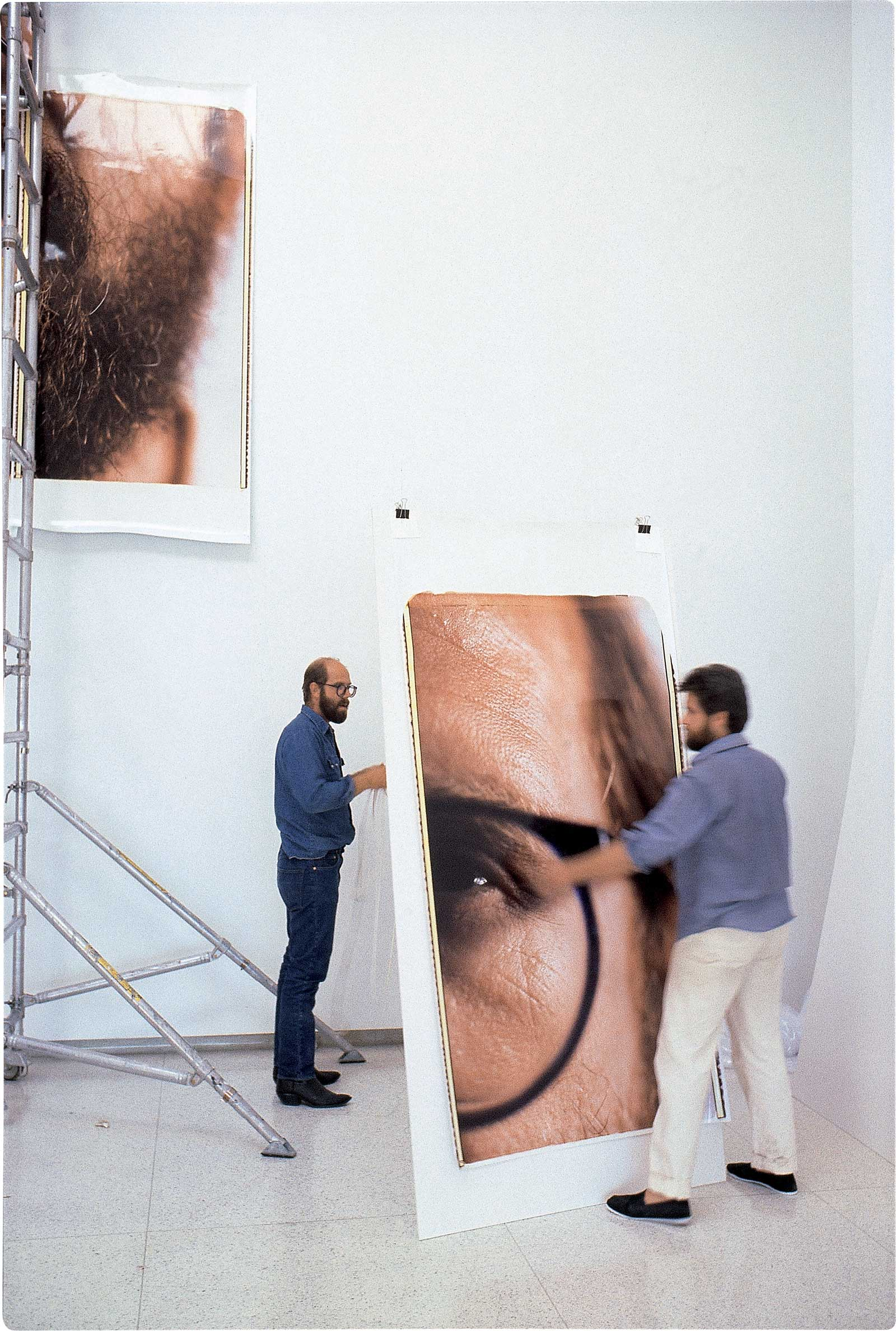 Chuck Close creating 'Self-Portrait/Composite/Six Parts', 1980