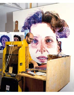 Chuck Close painting Leslie, 1985