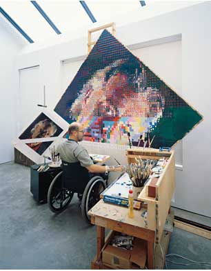 Chuck Close working on 'John', 1992 (Photo by Bill Jacobson)