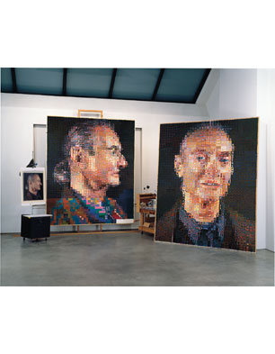 Chuck Close's studio with 'Roy II' and 'Roy I', 1968 (Photo by Ellen Page Wilson)