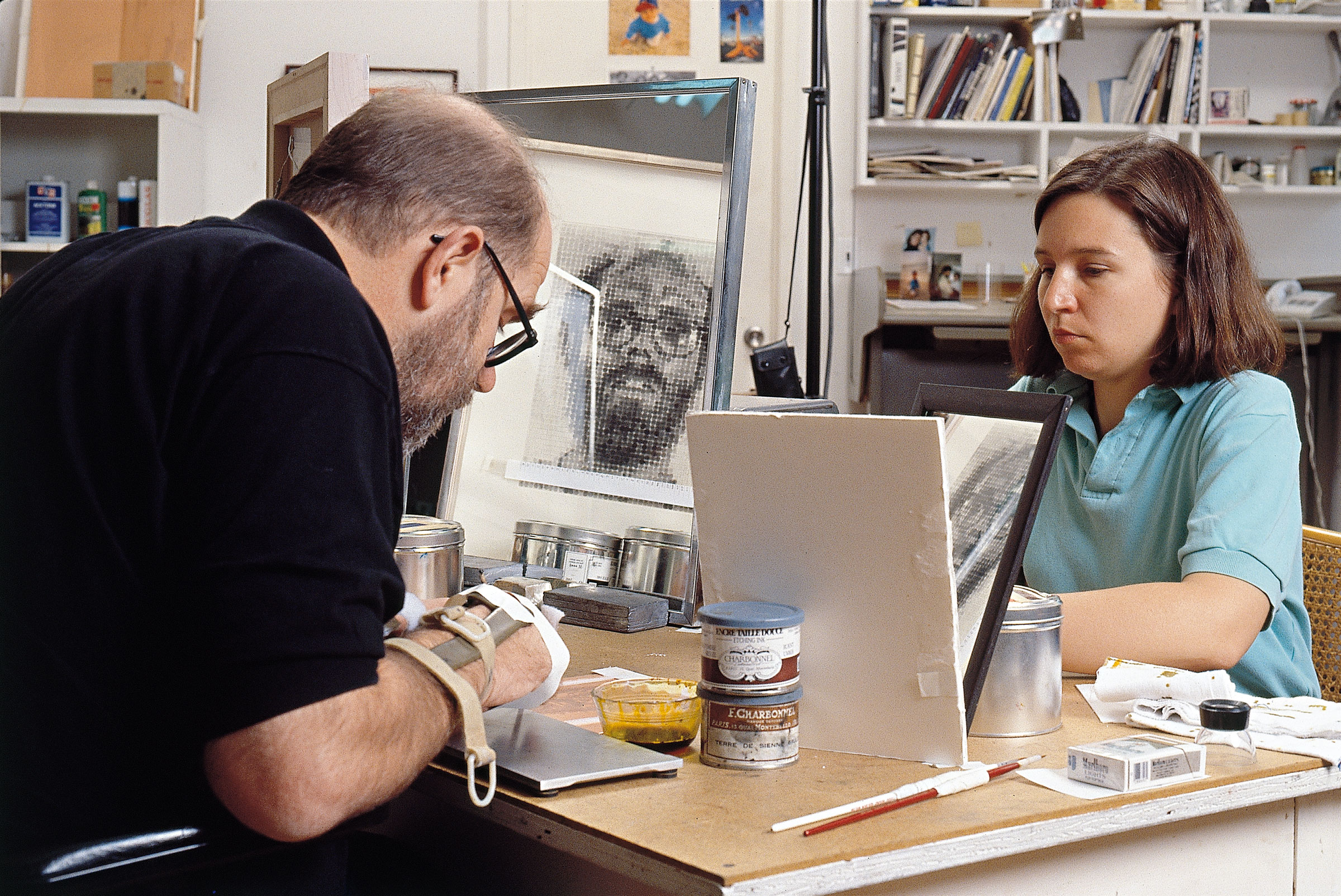 Chuck Close working on 'Self-Portrait', 1992 (Photo by John Back)