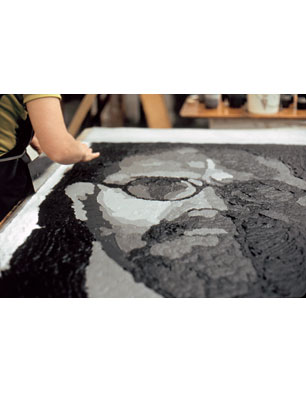 'Self-Portrait Pulp' in progress, 2001 (Photo by John Back)